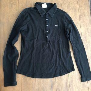 Women's Lacoste shirt long sleeve polo 38 Black